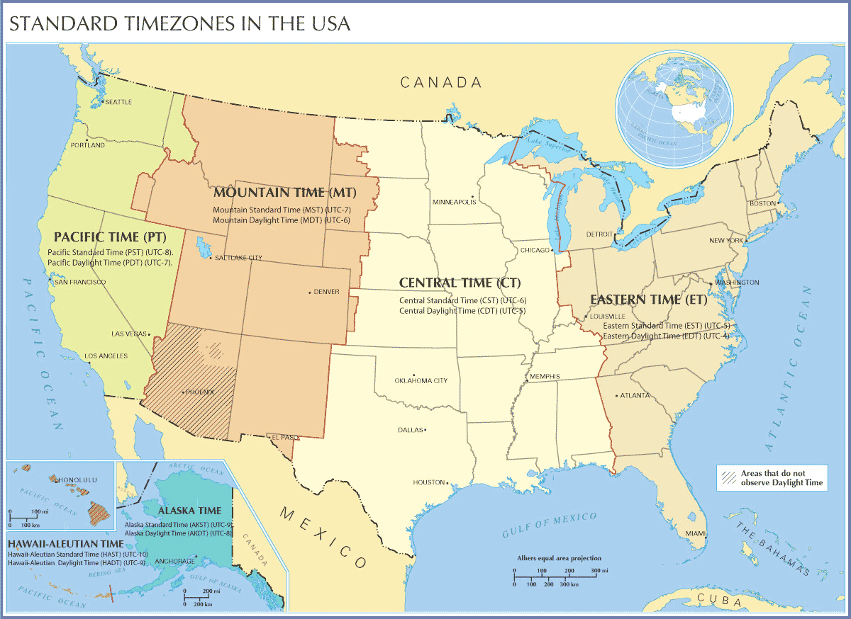 Standard Timezones In the Usa