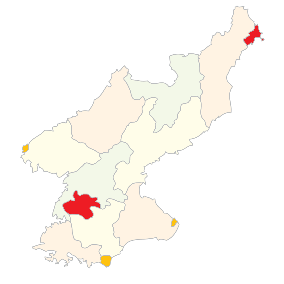 Subdivisions of North Korea (clear)
