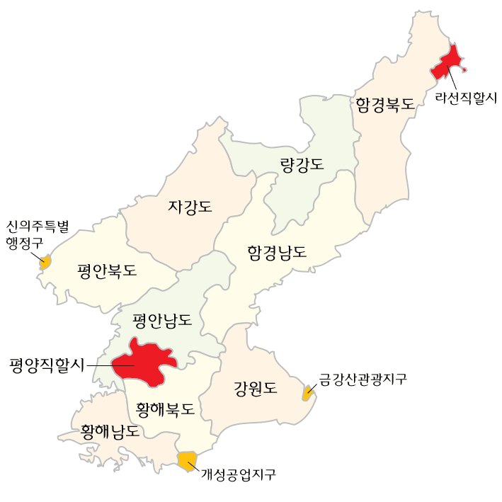 Subdivisions of North Korea (korean)