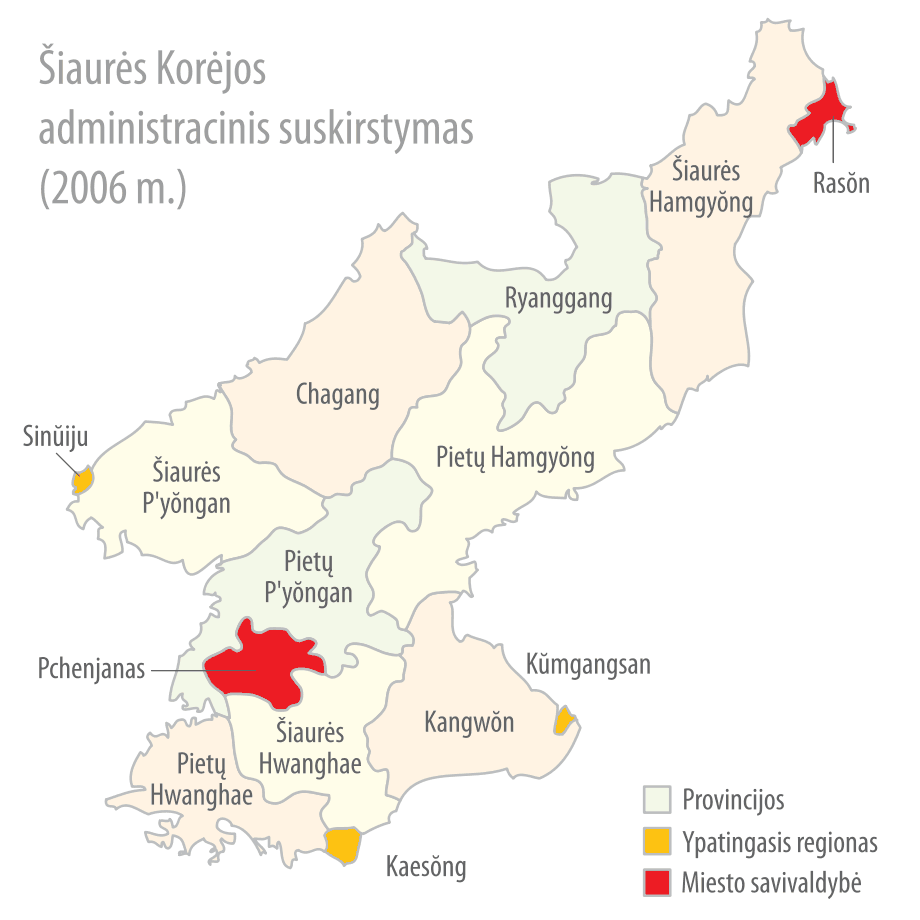 Subdivisions of North Korea (lithuanian)