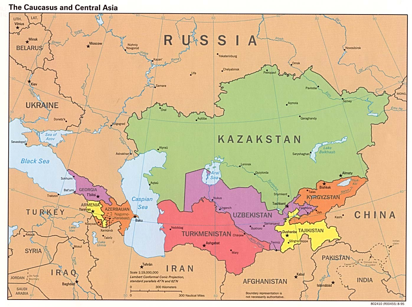 The Caucasus And Central Asia  Political Map 2