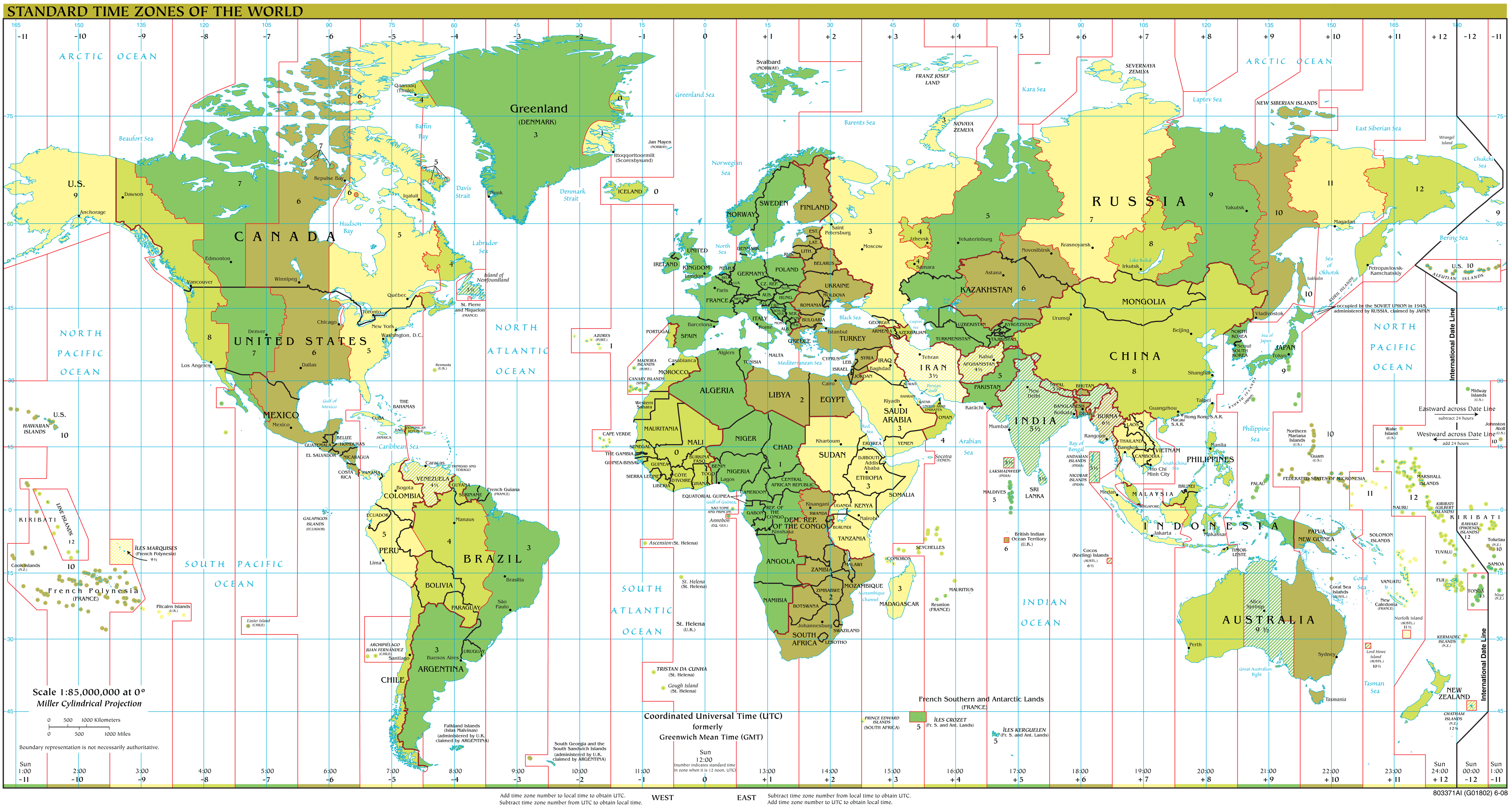 Time Zones Map Large