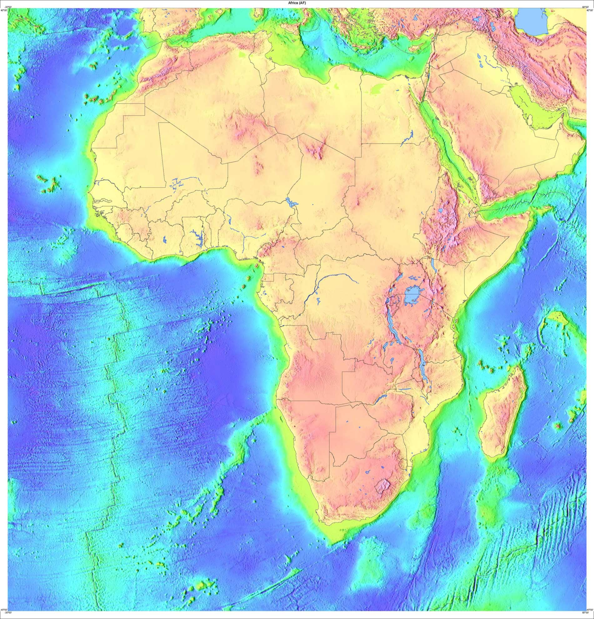 Topology Map of Africa From Usgov Usgs