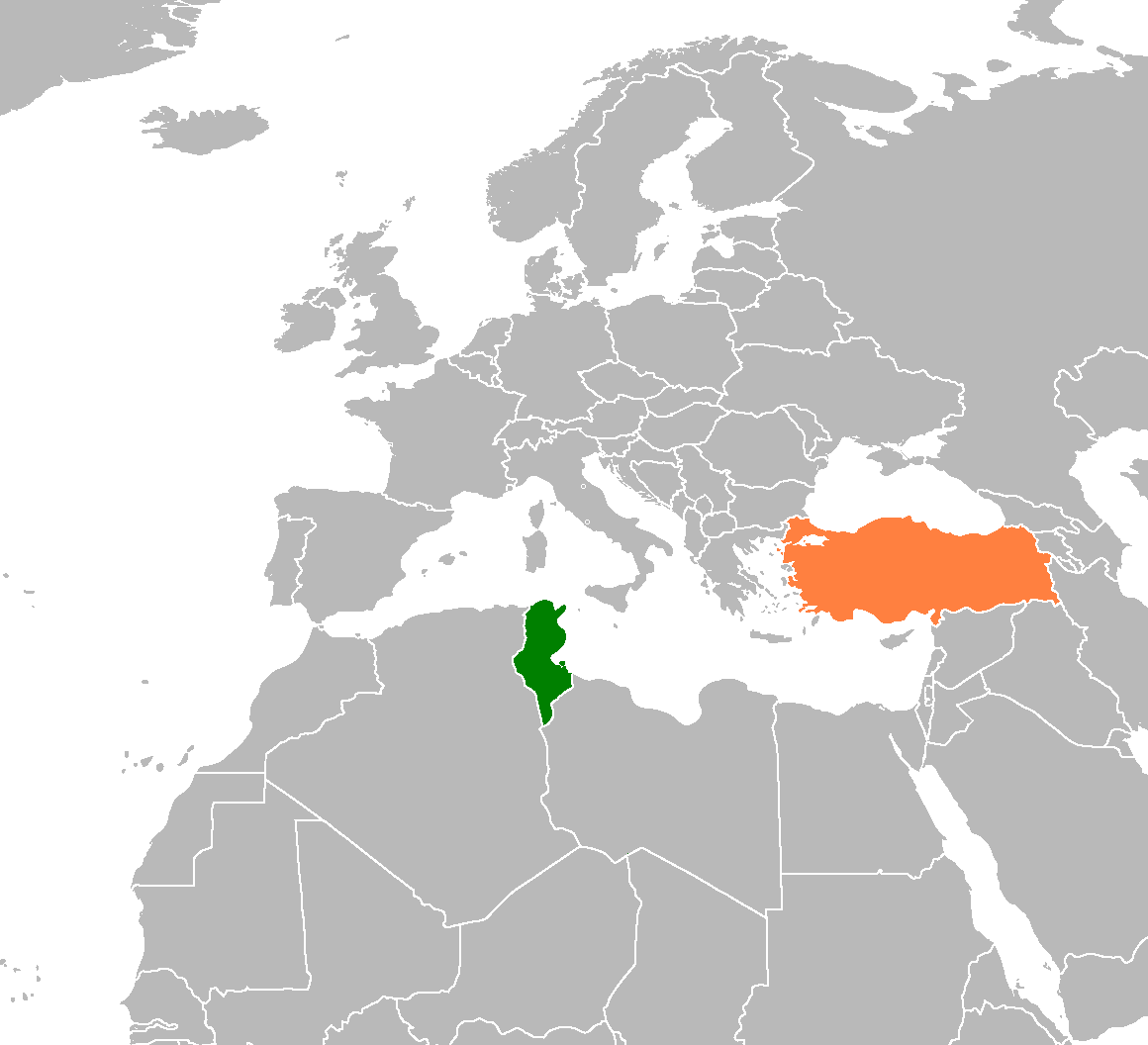 Tunisia Turkey Locator 1