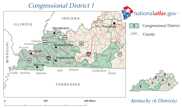 United States House of Representatives, Kentucky District 1 Map