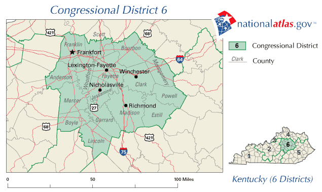 United States House of Representatives, Kentucky District 6 Map