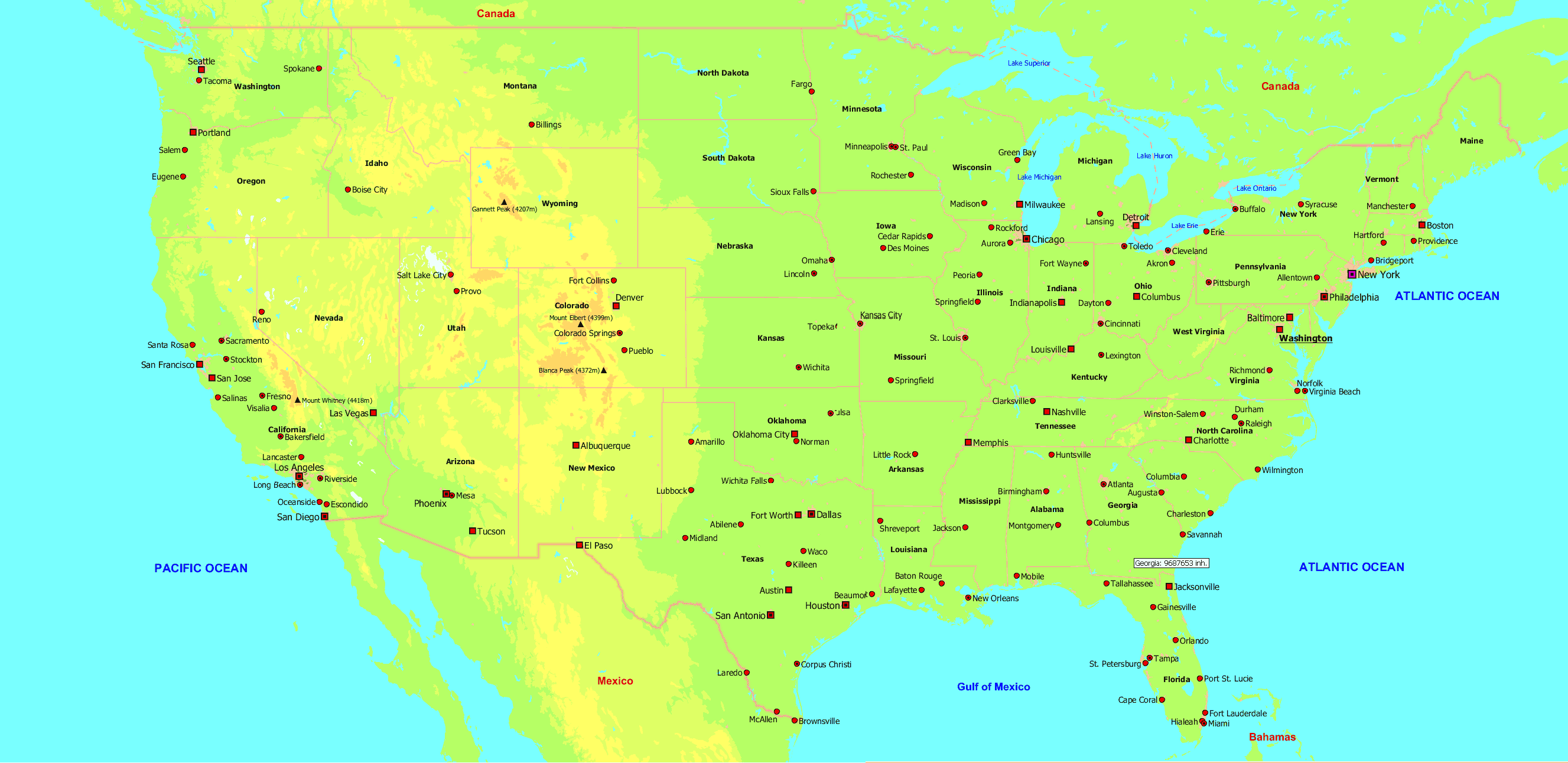 Us Map With Major Cities