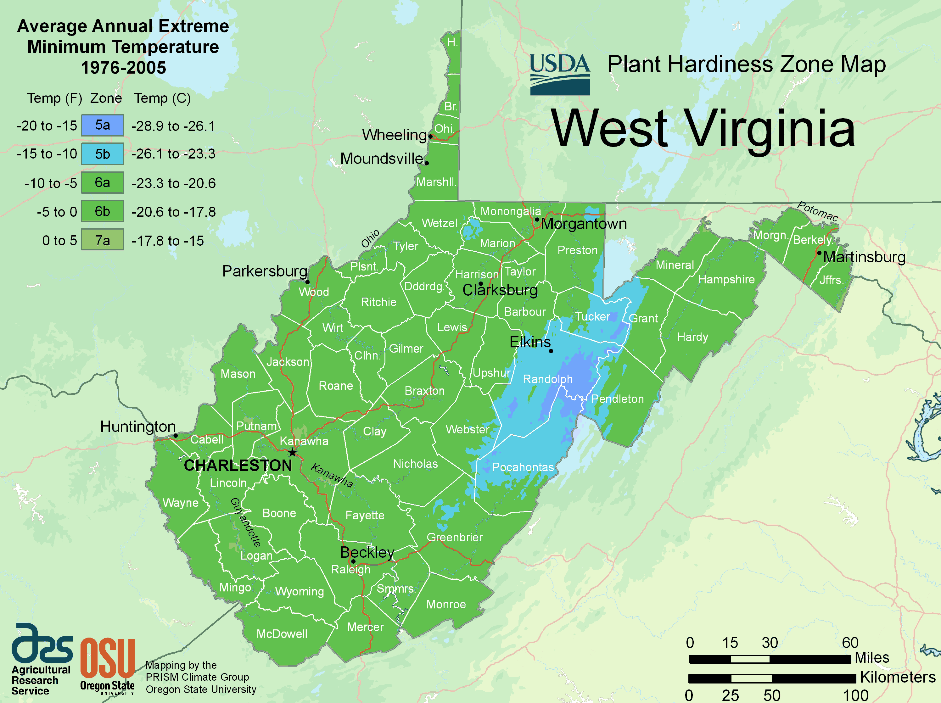 West Virginia Plant Hardiness Zone Map