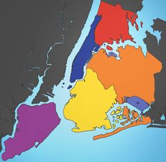 5 Boroughs Labels New York City Map Blank Map