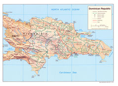 Dominican Republic Shading Relief Map