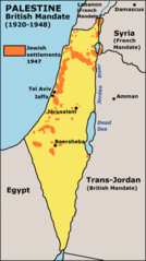 Map of Jewish Settlements In Palestine In 1947
