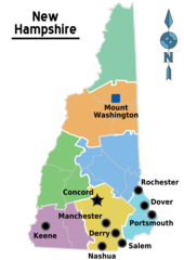 Map of New Hampshire Regions