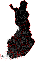 Muncipalities And Provinces of Finland Black