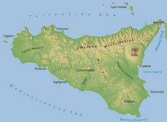 Physical Map of Sicily