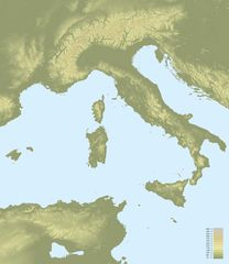 Topographic Map of Italy