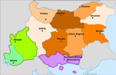 Administrative Map of Bulgaria During Wwii