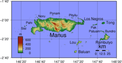 Admiralty Islands Topography With Labels