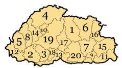 Bhutan Divisions Numbered