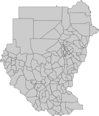 Blank Map of Sudan Administrative Areas