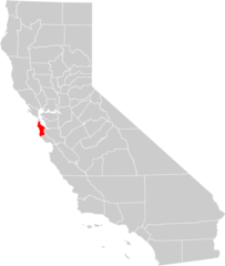 California County Map (san Mateo County Highlighted)
