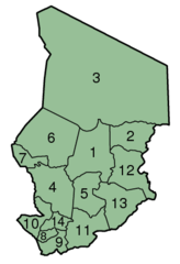 Chad Prefectures Numbered 300px