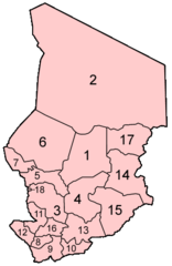 Chad Regions Numbered