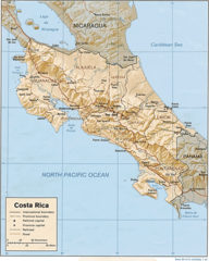 Costa Rica Map Shaded Relief