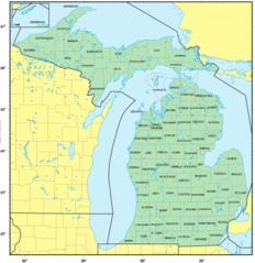 Counties Map of Michigan