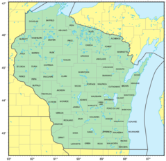 Counties Map of Wisconsin