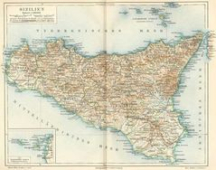 Historical Map of Sicily (1888)