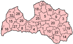 Latvia Districts Numbered