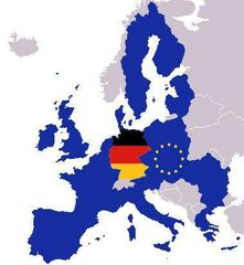 Map Europe With Europe And German Flag