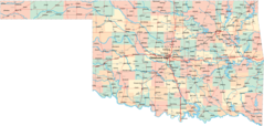 Map of Cities Counties In Oklahoma