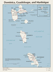 Map of Dominica Guadeloupe And Martinique