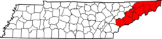 Map of Tennessee Highlighting Former State of Franklin