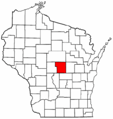 Map of Wisconsin Highlighting Portage County