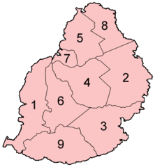 Mauritius Districts Numbered