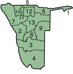 Namibia Regions Numbered