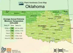Oklahoma Plant Hardiness Zone Map