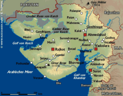 Physical Map of Gujarat