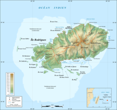 Rodrigues Island Topographic Map Fr