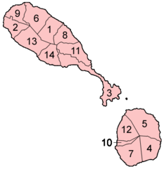 Saint Kitts And Nevis Parishes Numbered