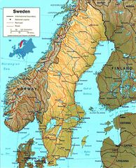 Sweden Map Physical
