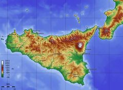 Topographic Map of Sicily