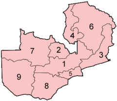 Zambia Provinces Numbered